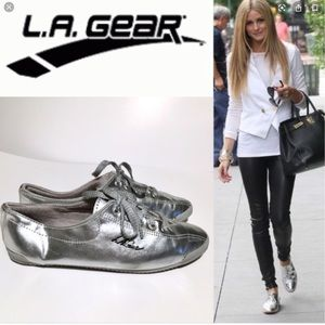 LA Gear Vintage Silver Sneakers 7.5 New